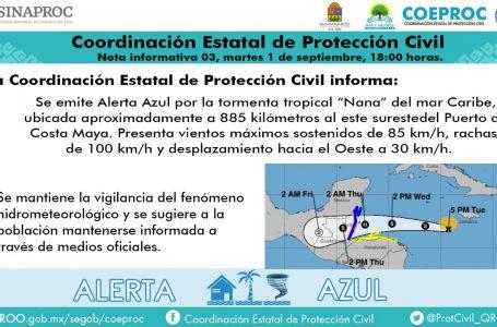 "ALERTA AZUL EN QUINTANA ROO POR TORMENTA TROPICAL ""NANA"""