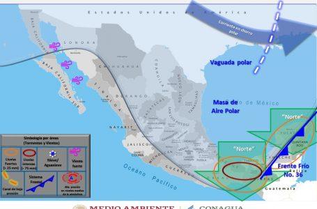 INFLUENCIARÁ FRENTE FRÍO 36 A LA PENÍNSULA DE YUCATÁN